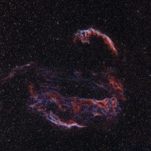 Veil_HOS_28+24+28x300sec_MapF_CT_HIST_DCON_HISTM_MT_LHEM_HISTM_HISTM_RESMP (Cygnus Loop – Wide Field II)