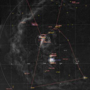 OrionRegion_2018-10-14_HaE_12x12x300sec_v1anno (Orion Region – Super-Wide-Field)